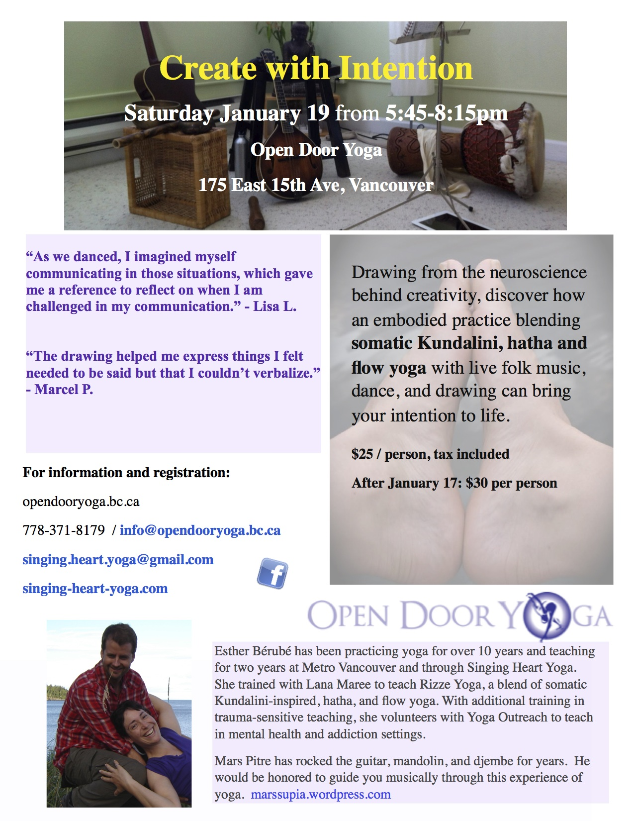 create with intention workshop - Jan 19 poster